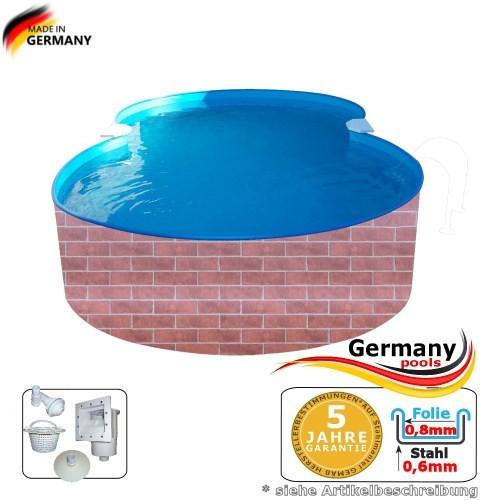 625 x 360 x 120 Pool achtform Achtform Pool Brick Ziegel