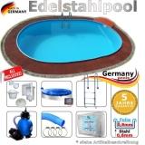 4,9 x 3,0 x 1,25 m Edelstahl Ovalpool Einbau Pool oval Komplettset