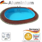 4,90 x 3,00 x 1,25 m Alu Ovalpool Ovalbecken Pool oval