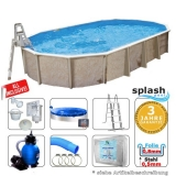 6,10 x 3,60 x 1,32 m Stahlwandpool oval Center Pool freistehend Set