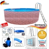 600 x 120 cm Poolset Gartenpool Pool Komplettset Brick