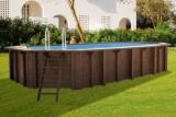 8,40 x 4,90 x 1,33 m Holzpool oval Holzbecken Pool Set