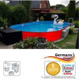 Ovalpool Rot 623 x 360 x 125 cm