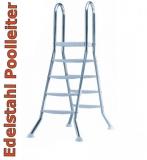 Poolleiter 1,20 m Edelstahl V2A Hochbeckenleiter mit Plattform