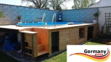 5,25 x 3,20 x 1,20 Achtformpool-Holz-Design Dark Holz-Muster Set