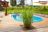 Ovalbecken Holz Design 7,3 x 3,6 x 1,20 m Komplettset
