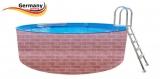4,5 x 1,2 Schwimmingpool Ziegel-Optik