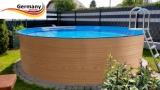 5,50 x 1,20 Holzpool Dekor Holz Design Pool Holz-Optik